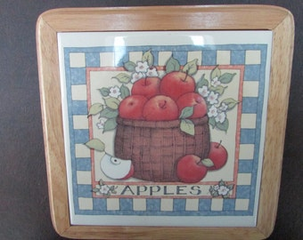 VINTAGE - Apple Basket Tile Trivets or Wall Hangings