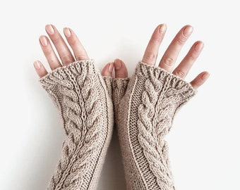 Cable knit fingerless gloves, beige armwarmers, knitted handwarmers, oatmeal mittens, winter gloves, womens mitts