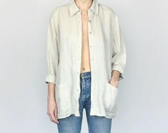 Natural Linen / Cotton Oversized Button-down (XL)