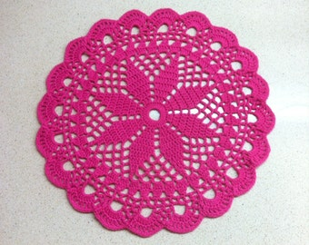 D-35(3). PINK Doily MANDALA 23.5 cm Crochet Round Doily Lace Doily crochet doily hand crocheted lace