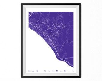 SAN CLEMENTE Map Art Print / San Clemente City Poster / San Clemente Wall Art / California/ Gift / California home decor