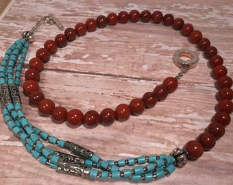 Turquoise and red jasper gemstone necklace