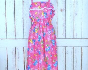 vintage 70s pink floral sheer ruffle sun dress/Sears floral dress/xlarge