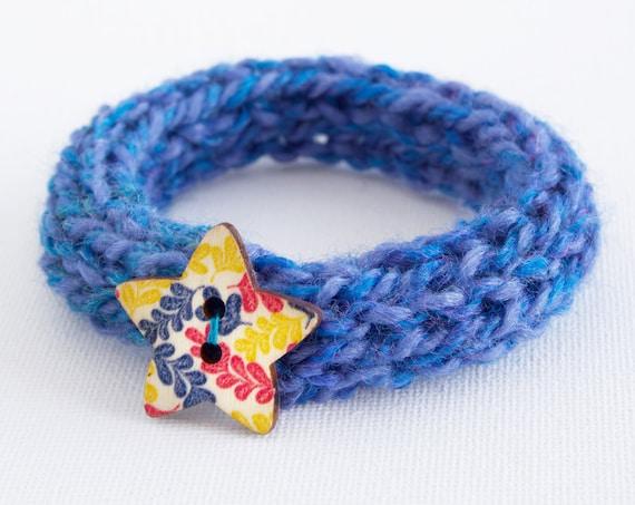 Cornflower Button Bangle • Stocking Stuffers, Blue Bracelet Knitted Bangles • Secret Santa Gifts • Knitted Blue Bracelets •Cute Blue Bangle
