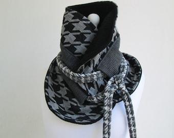 SALE ! - SHINGU Unisex Scarf Wrap Cowl Neckwarmer Shrug -Obi Belt Japanese Multipurpose Transformation Jersey Houndstooth
