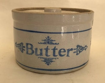 Antique Salt Glazed Blue and White Stoneware Butter Crock with Lid