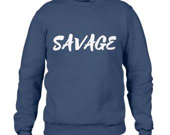 SAVAGE Stylish Sweatshirt Navy Blue Black Grey Red Green Trendy Sweater