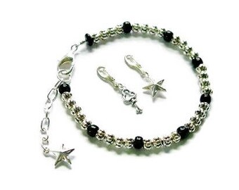 Silver and Black Tracking Bracelet, Weight Watchers, Counting, Tracking, Weight Loss Jewelry