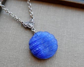 Vintage German Glass Button Necklace, Royal Blue, Electric Blue Wave