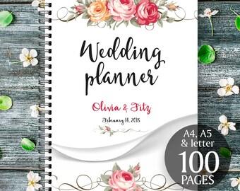 Floral printable wedding planner, Wedding printable binder, Printable wedding planner, DIY floral wedding, Floral PDF planner, Wedding kit
