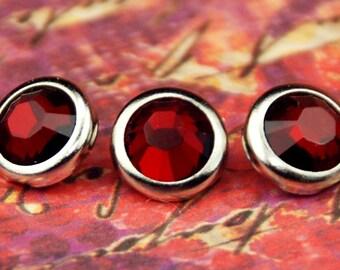 10 pressions de cheveux cristal Siam - ronde argent jante édition--faite avec des strass Swarovski Element
