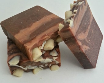 Hot Chocolate with Marshmallows Natural Soap-Unscented Soap-Artisan Soap-Goat Milk Soap -Cocoa-Milk Soap-Vegetarian Soap-Artistic Soap