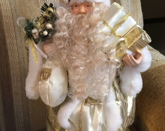 "19"" white and gold Santa"