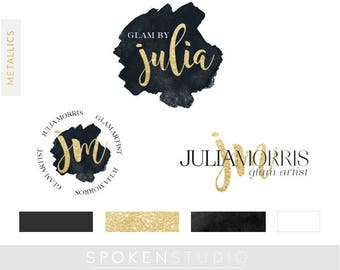 Logo Kit | Gold Logo Branding Package | Black Gold Logo | Premade Logo Design | Make-up Logo,Fashion Logo, Blog Logo | Branding Design Kit,