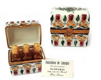 SALE Authentic French Limoges Porcelain Hand Painted Perfume Box with 3 bottles,Rare Amber Perfume Bottle Trinket Box Authenticity Card