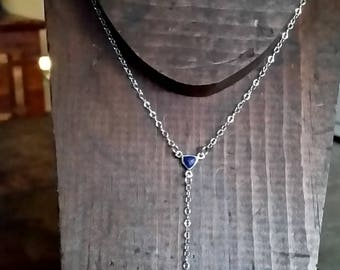 Lapis Sterling Silver Y Necklace