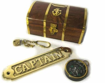 Brass set of 3 maritim-piggy bank of with lock-massive door sign Captain compass