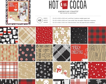 American Crafts Hot Cocoa Paper Collection - Hot Cocoa Paper - 12x12 - Card Stock Paper - Cardstock Paper - Christmas Paper - 2-082