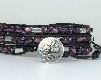 Beaded Wrap Bracelet, Beaded Leather Bracelet, Bracelet Beads, Leather Wrap Beaded Bracelet, Triple Wrap Bracelet, Czech Glass Tile Bracelet