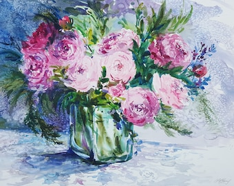 "Peonies Watercolor - LARGE WATERCOLOR ORIGINAL Painting entitled: ""Rhapsody in Pink"" by Linda Henry (#FS003)"