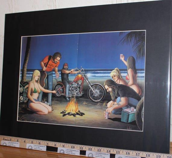 """David Mann """"Beach Campfire"""" 16'' x 20'' Matted Biker Art #9203ezrxmb"""