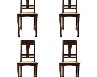 Set of Four German Art Nouveau Dining Chairs