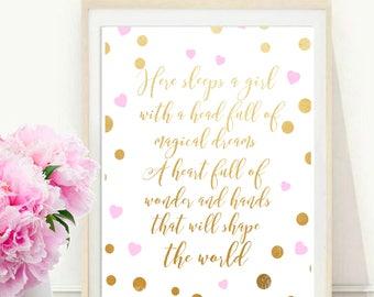 Here Sleeps a Girl, Nursery Print, Printable Art,  Girls Room Decor, Inspirational Print, Typography Quote,  Wall Decor, digital download