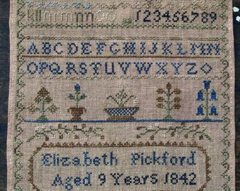 Elizabeth Pickford 1842 Reproduction Sampler by Pineberry Lane Counted Cross Stitch Pattern/Chart