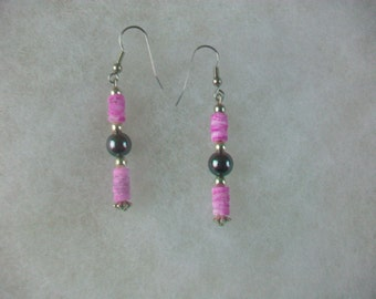 Handcrafted Hematite And Shell Pink Dyed Beads Handmade Earrings