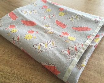 Vintage Feedsack Fabric. Gray. Yellow. Orange. Very Pretty