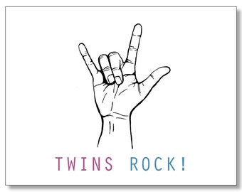 TWINS ROCK Pregnancy BABY Card. Funny Card for a Pregnant Friend. Congratulations Boy & Girl Twins. Twins Baby Shower Card