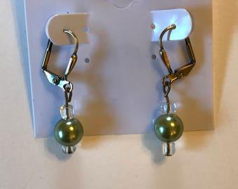 Pistachio Green Pearl Leverback Earrings