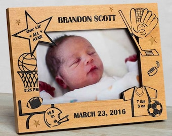 Personalized Baby Picture Frame, Baby Boy Picture Frame, Baby Boy Frame, Picture Frame Baby Boy, Baby Boy Sports Frame, New Baby Boy Frame