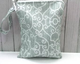 Gray Waterproof Bag, Swimsuit Bag, Beach Bag, Cloth diaper Bag,  Dark Gray Wet Bag, Wetbag