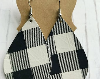 Black & White Buffalo Plaid Leather Earrings. Genuine/Real Leather. Lightweight leather earrings. Gifts for her