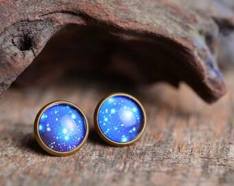 Galaxy earrings, stars earrings, space earrings, universe earrings, blue universe stud earrings, glass dome earrings