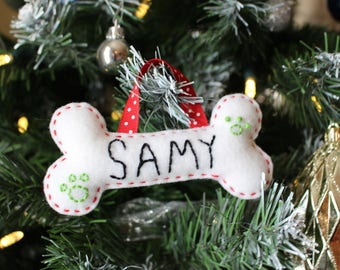 Personalized dog christmas ornament | Custom felt ornament | felt dog bone | Christmas decoration | Made in Québec