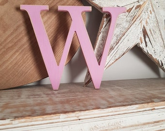 Wooden Letter W - painted and distressed - letter art, interior decor, 15cm