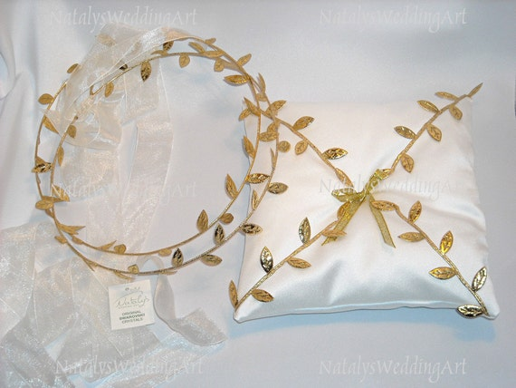 Sale stefana and ring cushion set greek style gold leafs for Orthodox wedding rings for sale