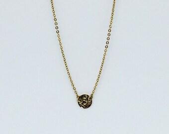 14k Gold Filled Hammered Disc Necklace