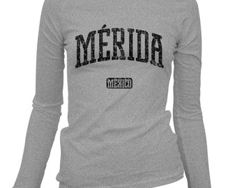 Women's Merida Mexico Long Sleeve Tee - S M L XL 2x - Ladies' T-shirt, Gift, Merida Shirt, Yucateco Shirt, Yucatan, Mayan, Mexico Sureste