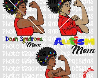 Autism Down Syndrome Mom strong woman with bandanna SVG