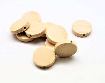 set of 20 flat 20 mm (blank) wood beads