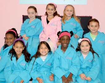 Personalized Kids Spa Robe Wedding Hooded Spa Robe Junior Bridesmaid Flower Girl Kids gifts Girls Spa Birthday Party