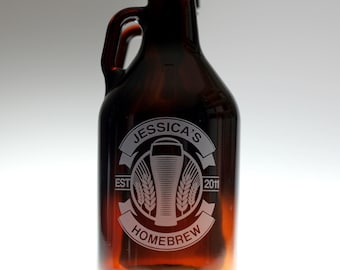 Personalized Beer Growler Personalized with Double Banner Curved Wheat Art. fathers day gift,custom pint,engraved pint, custom Beer Glass