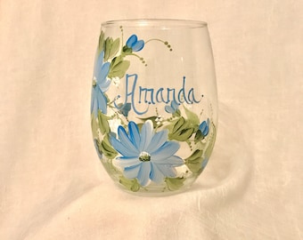 Wild flower hand painted personalized stemless wine glass for grammy mom mema sister friend aunt bridemaid free shipping