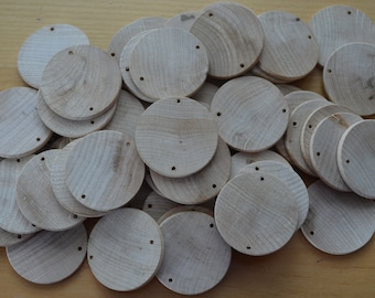 Unfinished wooden discs,  predrilled,  1 1/2 in x 1/8 inch, Wooden circles, DIY projects