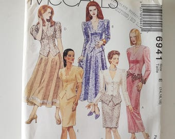 """Sewing Pattern for Women's Skirt Suit Princess Seam Jacket w Front Points and Straight or A-Line Skirt Bust 36 38 40"""" UNCUT McCall's 6941"""