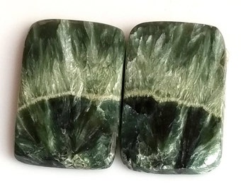 Seraphinite Ractangle Smooth Cabochon, Natural Seraphinite Designer Cabochon Pair, 26x16 MM, 30 Cts, Loose Gemstone Pair.