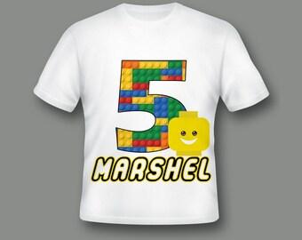 Building Blocks Shirt, Custom Birthday Shirt, Custom Party Shirt, Building Blocks, Kids Birthday Shirt, Custom Print Shirt ; 51000126